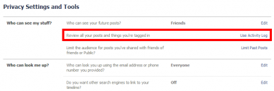 Facebook Privacy Settings Activity Log